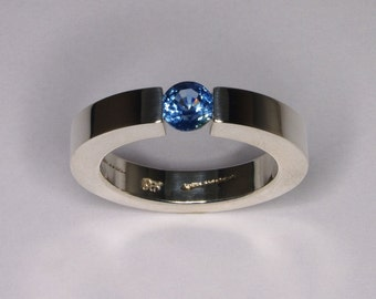 Blue Sapphire Tension Set Engagement Ring / Colorful Engagement Ring Size 6