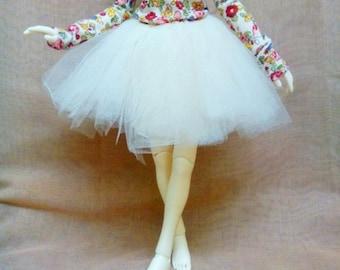 BJD tutu skirt for MSD - White