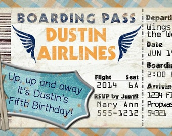 Planes Boarding Pass Invitation for Birthday Party, Bon Voyage, Wedding, Save the Date (DIY Printable Template Instant Download)