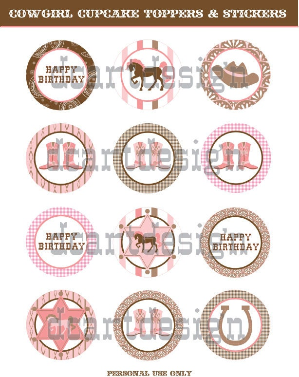 Happy Birthday Cupcake Toppers Printables ~ Printable happy birthday cowgirl cupcake toppers