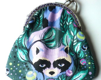 Mauve Lilac Green Raccoon Purse
