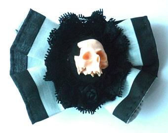 Amor ad Mortem Hair Clip Pin - Black White Stripes Steampunk Gothic Memento Mori Skull Macabre