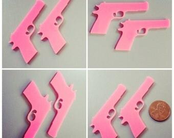 2x laser cut acrylic large gun cabochons (hot pink)