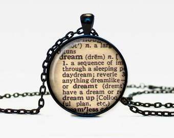 Dream necklace vintage dictionary definition of Dream word pendant word Dream jewelry