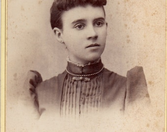 Antique Photo of Melancholy Young Lady