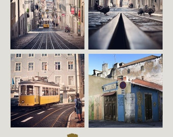 Wall art travel. Lisbon, Portugal photography. Set of 8 photograhs of Lisbon. Fine art photography.Home Decor.Portugal Print Set.Pingeon.