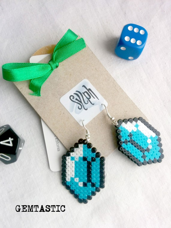 Turquoise blue geeky 8bit retro Zelda game inspired Gemtastic earrings made of Hama Mini Perler Beads