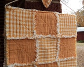 "Handmade Primitive 28.25"" x 15"" Prim Homespun Table Runner on muslin wrapped hanger with Heart Ornament Orange Rag Quilted Topper"