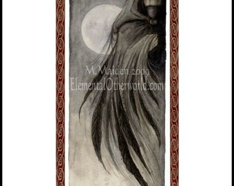 The Morrigan, signed A4 PRINT, watercolour painting, crone Celtic goddess, warrior, mythology, celtic knotwork, raven shapeshifter crow