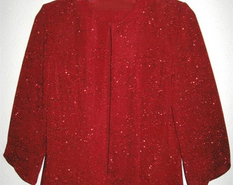 Red Sparkle Womens Evening Jacket 3/4 Sleeves, Flower Print with Shoulder Pads