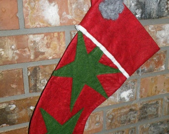 Wool Felt Christmas Stocking: Starburst