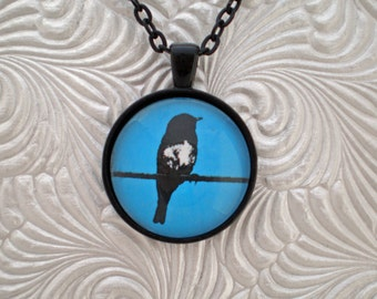 Bird on a wire pendant necklace, silhouette style pendant