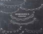 BUY2GET1FREE- Hand drawn chalk bunting clipart- doodle chalk bunting - Scrapbook embellish- Invitation-Blog Graphics-Photography