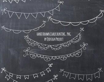 Hand drawn chalk bunting clipart doodle chalk bunting  Scrapbook embellish InvitationBlog Graphics Photography
