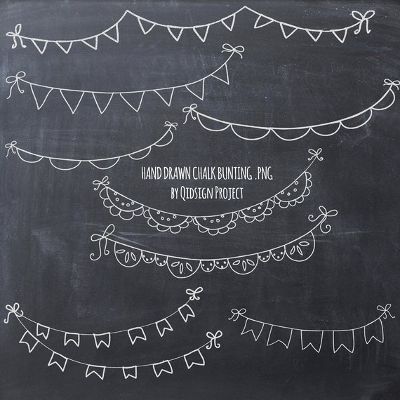 Hand Drawn Chalk Bunting Clipart Doodle Chalk Bunting