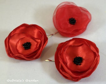 Martisor, Red Poppy, Bobby Pins, Brooch, Satin and Organza Red Poppy Flower Brooch, Black Murano Glass Beads, Hair accessory