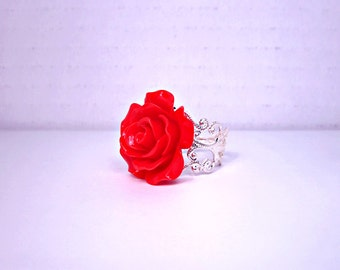 Ruby Red Rose Ring; Silver Filigree Ring Band; 20mm Rose Ring; Resin Flower Ring; Filigree Rose Ring; Adjustable Ring; Red Rose Jewelry