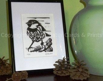 Sparrow Lino Print