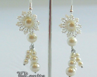 Beadwork Wedding Earrings Flowers, beaded, Earrings Beaded Wedding Style Earrings Seed Beaded Earrings Handmade Earings