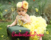 Baby Girl's full ruffle PREMIUM Yellow SunShine pettiskirt tutu skirt party dress petticoat twins photo prop Newborn size 12-24-36 mo 2T 3T