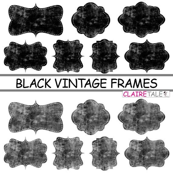 """Digital clipart labels: """"BLACK VINTAGE FRAMES"""" grunge clipart frames, labels, tags on vintage black background"""