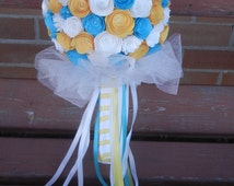 Large Custom Handmade Paper and Burlap Wedding Bouquet Bride or Bridesmaids Bouquet ANY COLORS Yellow, White, Blue, Tulle
