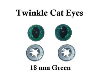 18 mm Green Safety Eyes Twinkle Cat  Eye Pupil (One Pair)