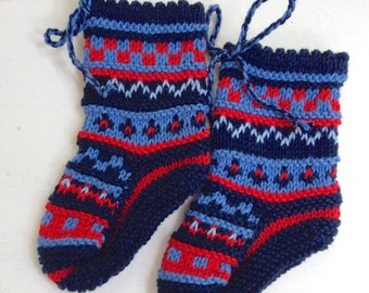 Woollen Baby Booties Socks Knitted Baby Shoes  Babyshower Gift  Blue Red