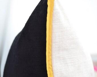 Yellow Black Pillow Etsy