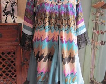 Dress T 42-44 printed purple, teal, black, pink and khaki beige