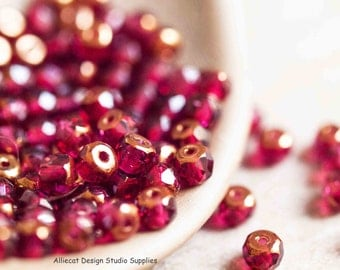 25 Cranberry 3x5mm Faceted Rondell Czech Glass Beads (SB020)