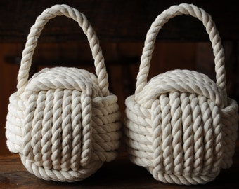 2 Nautical Doorstops - Cotton Rope Doorstops - Nautical Decor -  Monkey Fist Doorstop - (this is for 2)