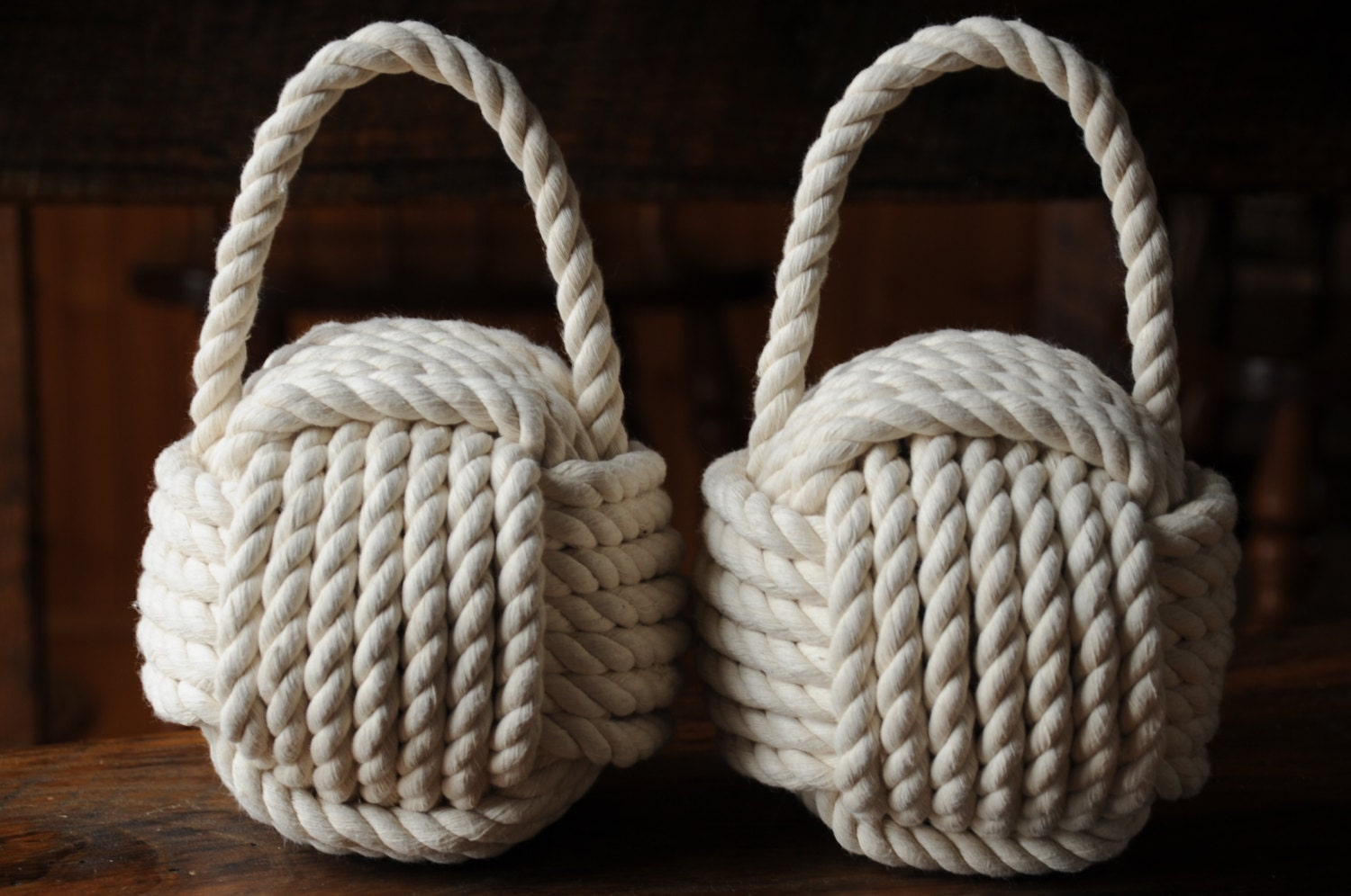 2 nautical doorstops cotton rope doorstops nautical decor for Heavy rope for nautical use