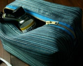 Teal Commercial Grade Upholstery Fabric Dopp Kit Lined with Water Resistant Rhino Canvas