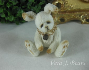 "3"" Miniature Artist Bunny Rabbit for Bear or Doll Handmade  by Vera J.Bears"
