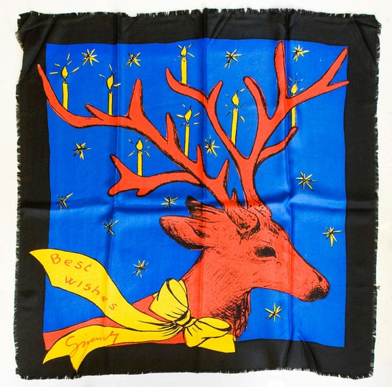 1990s Alexander McQueen ? for Givenchy French Couture Silk Scarf Xmas Greeting Deer Blue Black Red Yellow