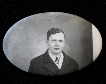 Vintage 1920's Celluloid Photo Remembrance Pocket Mirror - Handsome Young Father - Free Shipping