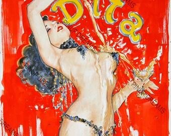 Retro Vintage Burlesque Poster Dita, re-print Various Sizes