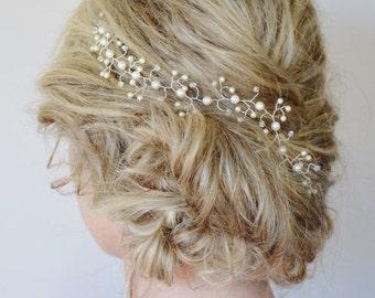 Pearl Crystal Hair Vine, Wedding Hair Accessories,Customised Bridal Headpiece,Swarovski Crystal & Pearl Hair Piece, Formal Hair Vine