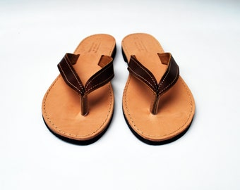 Women Flip Flops, Leather Sandals in Brown Color