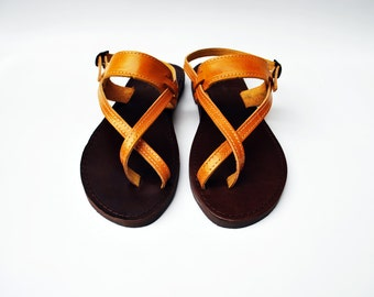 Women Sandals in Canary Yellow Color and Dark Brown sole made with 100% Genuine Leather