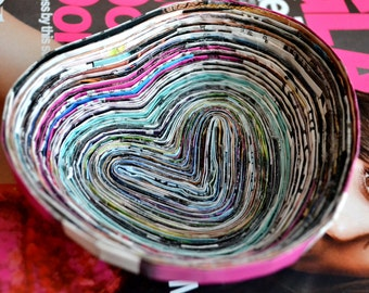 Colorful Heart Shaped Recycled Magazine Bowl