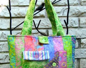 Strip Tote Bag - Bright Pastels Batik