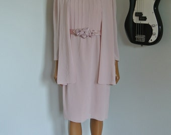 1980s URSULA of Switzerland Chiffon Dress Blush Pink sheath Shift with Draped long Capelet/ 6/ S