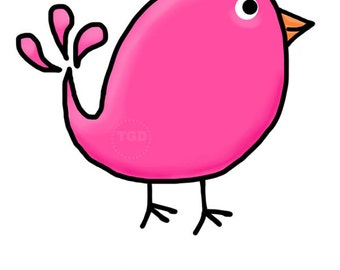 Preppy Cute Pink Bird - Original art download, bird clip art, bird printable, bird graphic