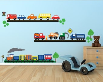 Cars Construction Trucks Trains Wall Decal, Fabric REUSABLE Decal, Non-toxic, Eco-friendly Peel and Stick Decals, 633