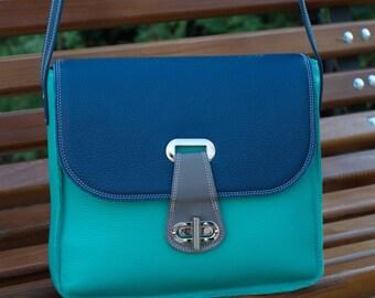 Leather Messenger Bag, Blue Leather Shoulder Bag, Womens Leather Messenger Bag, Blue Leather Bag, Woman Leather Bag, Blue Leather Messenger