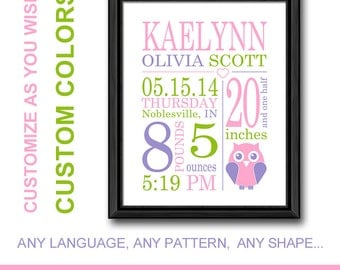 girls birth stats owl nursery birth print custom baby birth date print personalized baby decor baby print baby stats art new baby gifts