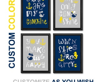 you are my sunshine nautical baby wall art, nautical theme baby shower decor, nautical nursery rhyme prints, nursery wall sayings, baby song