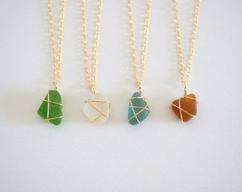 Hawaiian Sea Glass Necklace, Gold Filled
